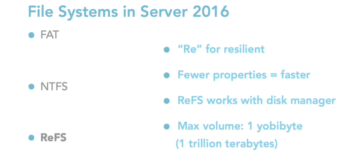 Resilient File System (ReFS) in Windows Server 2016