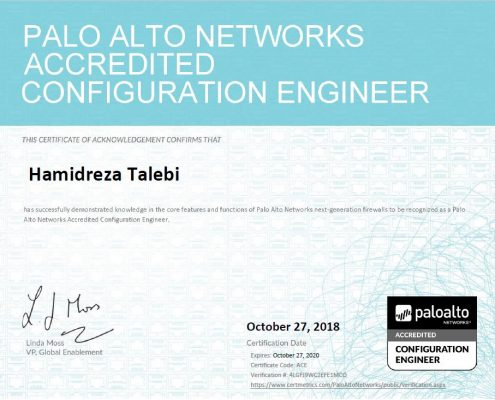 Palo Alto Certificate Hamidreza Talebi