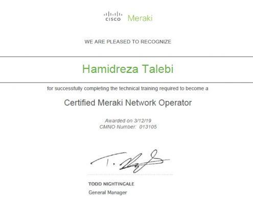 Meraki Certificate Hamidreza Talebi
